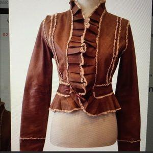 Lace details leather jacket
